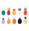 doodle abstract pineapple colorful pineapples vector image