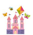 fairy castle icon vector image vector image