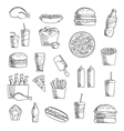 Fast and takeaway food sketched icons vector image vector image