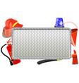 firefighter metal board vector image vector image