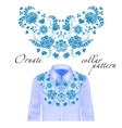 Floral curl neck embroidery for blouses vector image