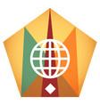 geometric globe flat icon vector image vector image