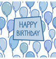 happy birthday sign on blue balloon background vector image