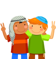 kids making peace vector image