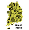 korea map design korean traditional symbols and vector image vector image
