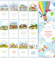 lovely set banners of cute cityscape Urban vector image