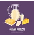 Organic products banner with dairy composition vector image vector image