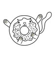 outline kawaii nice cat donut snack vector image vector image