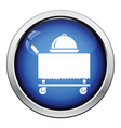 Restaurant cloche on delivering cart icon vector image vector image