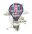 retro air balloon hand drawn lettering above vector image vector image