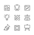 set line icons art and creativity vector image