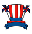 tophat with united states america flag and wind vector image vector image