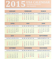 USA Calendar for 2015 American holidays are marked vector image vector image