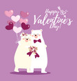 valentines day background with cute polar bear vector image