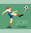 woman soccer player with ball vector image
