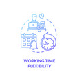 working time flexibility blue gradient concept vector image vector image