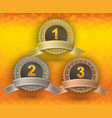 awards on yellow background vector image vector image
