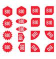 bio sticker set red promotion labels modern flat vector image