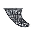 black grunge style surf fin silhouette with vector image