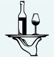 bottle wine with a glass on a tray vector image vector image