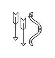 bow and arrows line icon concept bow and arrows vector image vector image