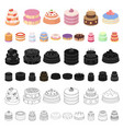 cake and dessert cartoon icons in set collection vector image vector image
