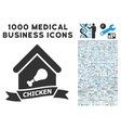 Chicken Cafe Icon with 1000 Medical Business vector image