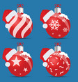 christmas ball red with hat set vector image vector image