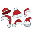 christmas santa claus hats vector image vector image
