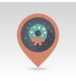 Christmas wreath pin map icon vector image vector image