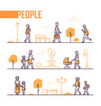 city life - set of line design style elements vector image