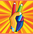 color pencil hand vector image vector image
