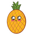 cute little pineapple on white background vector image vector image