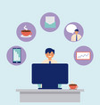 daily activity computer man office work vector image