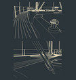 deck and tackle a sailing yacht vector image