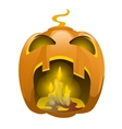 Face carved from pumpkin and burning candles vector image vector image
