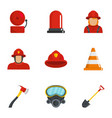 firefighter icons set cartoon style vector image