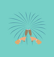 flat on background of glasses champagne hands vector image
