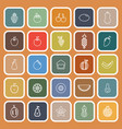 fruit line flat icons on orange background vector image