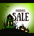 halloween hollidays sale banner house on hill vector image