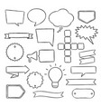 hand drawn speech bubbles badges and ribbons vector image