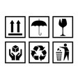 handling packing icon set-fragile recycle signs vector image