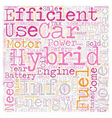 hybrid cars info text background wordcloud concept vector image vector image
