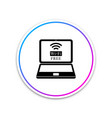 laptop and free wi-fi wireless connection icon vector image vector image