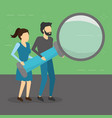 man and woman holding magnifying glass vector image