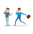 man rushing to work businessman talking on phone vector image vector image
