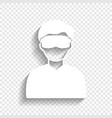 man with sleeping mask sign white icon vector image vector image
