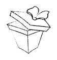 open gift box ribbon valentine party sketch vector image vector image