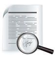 Paper agreement and magnifier Contract vector image