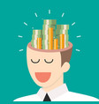 pile money in businessman head vector image vector image